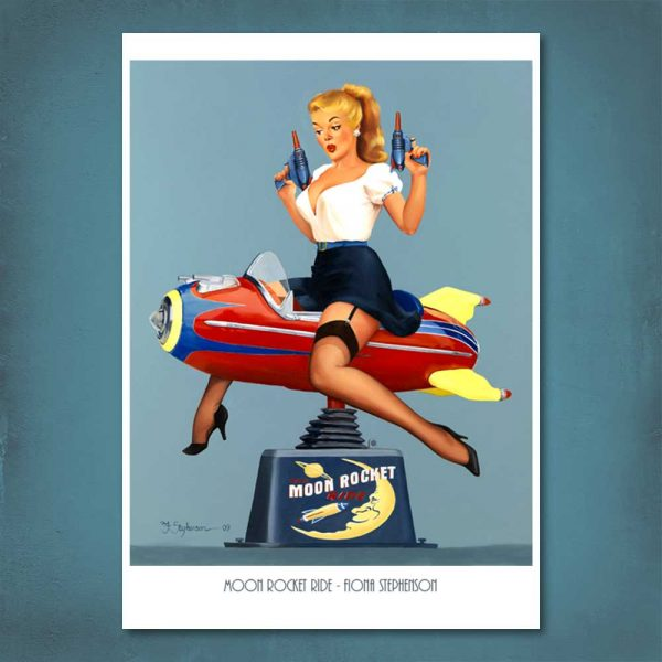 Moon Rocket Ride Pin-Up Print